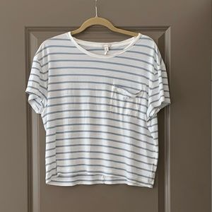 GAP White and Blue Striped T-shirt